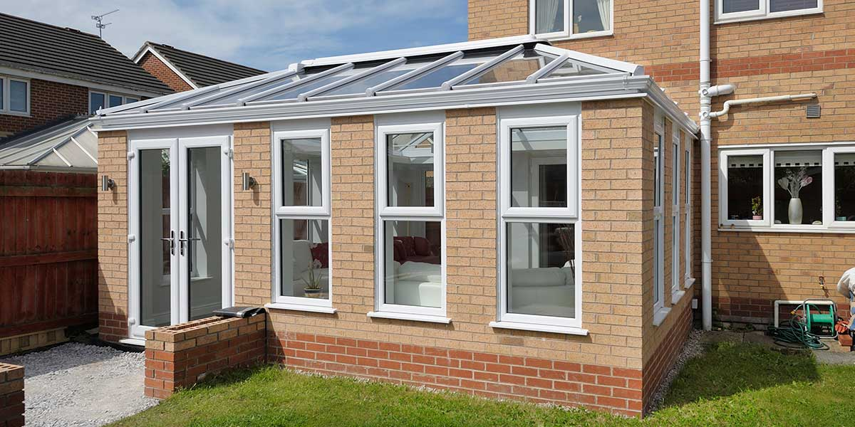 Modern Orangery With French Doors, White Frames
