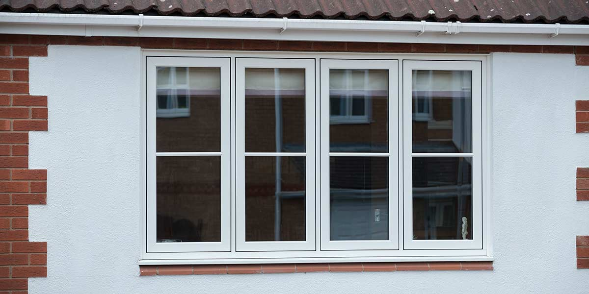 White Flush Casement Window External Detail