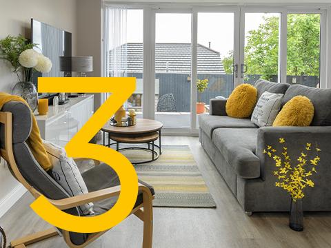 A living space with bi-folding doors
